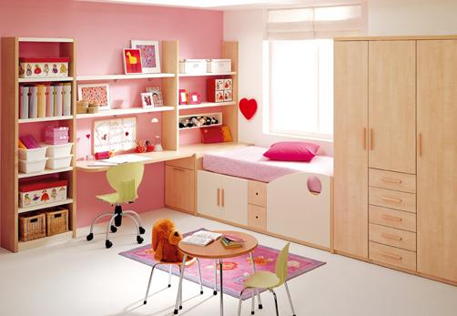 Dormitorio juvenil moderno de niña
