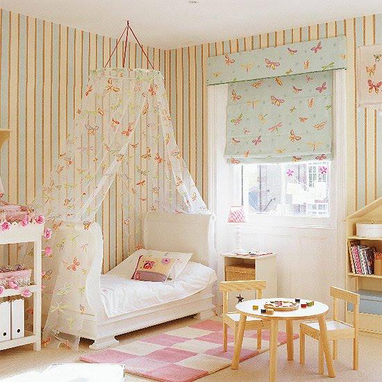 Dormitorio de niña empapelado