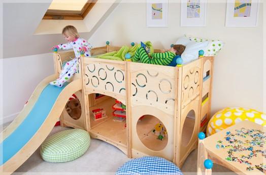 cama loft de madera natural infantil